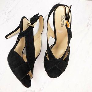 Michael Michael Kors Black Suede Heels Shoes 9